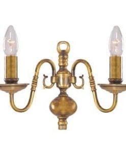 Searchlight 1019-2AB Flemish 2lt Wall Light, Antique Brass