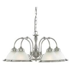 Searchlight 1045-5 American Diner 5lt Ceiling Light, Satin Chrome