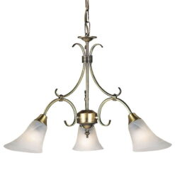 Endon 144-3AN Hardwick 3lt pendant 40W, Antique brass effect plate & frosted glass