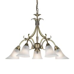 Endon 144-5AN Hardwick 5lt pendant 40W, Antique brass effect plate & frosted glass