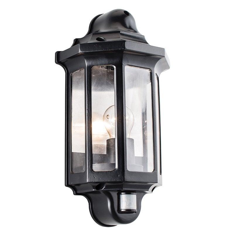 Endon 1818PIR Traditional PIR half lantern IP44 60W, Satin black paint & clear pc
