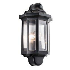 Endon 1818S Traditional half lantern IP44 60W, Satin black paint & clear pc