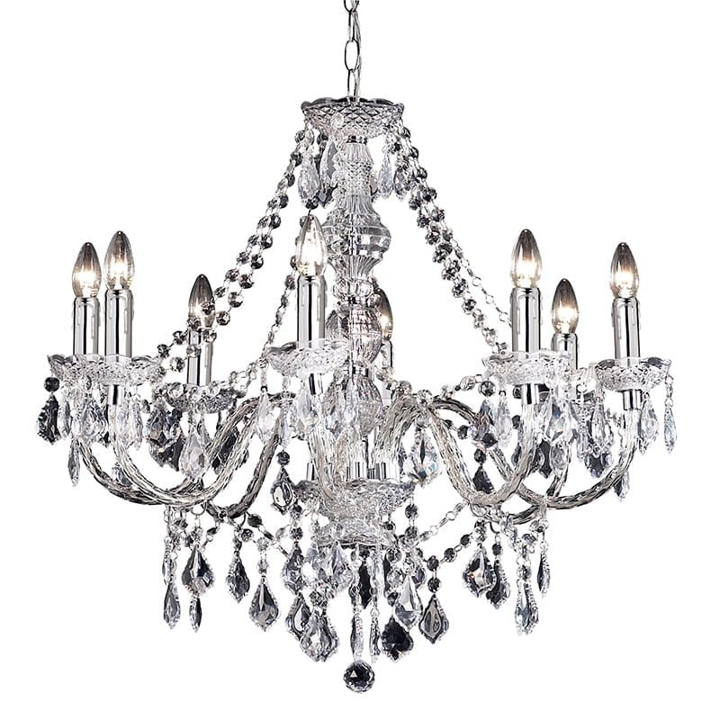 Endon 308-8CL Clarence 8lt pendant 60W, Clear acrylic & chrome effect plate