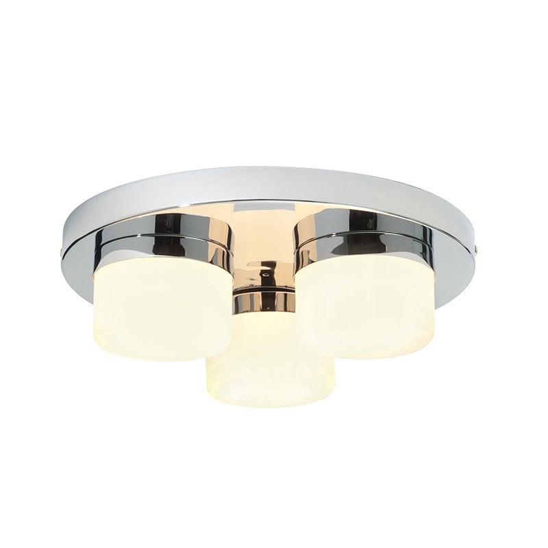 Endon 34200 Pure 3lt flush IP44 28W, Chrome effect plate & matt opal duplex glass