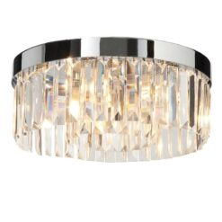 Endon 35612 Crystal 5lt flush IP44 18W, Chrome effect plate & Crystal (k9) glass detail