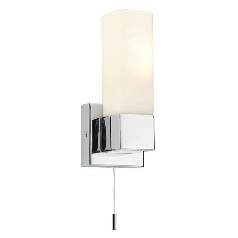Endon 39627 Square IP44 40W, Chrome effect plate & matt opal duplex glass