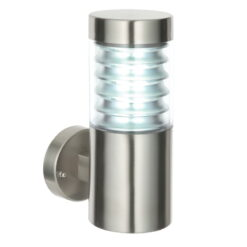 Endon 49909 Equinox 1lt wall IP44 12.3W, Marine grade brushed stainless steel & clear pc