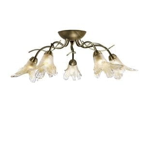 Searchlight 5495-5AB Lily 5lt Ceiling Light, Antique Brass