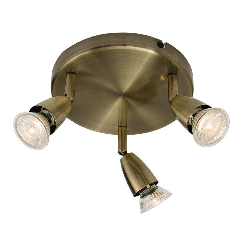 Endon 60997 Amalfi triple 50W, Antique brass effect plate