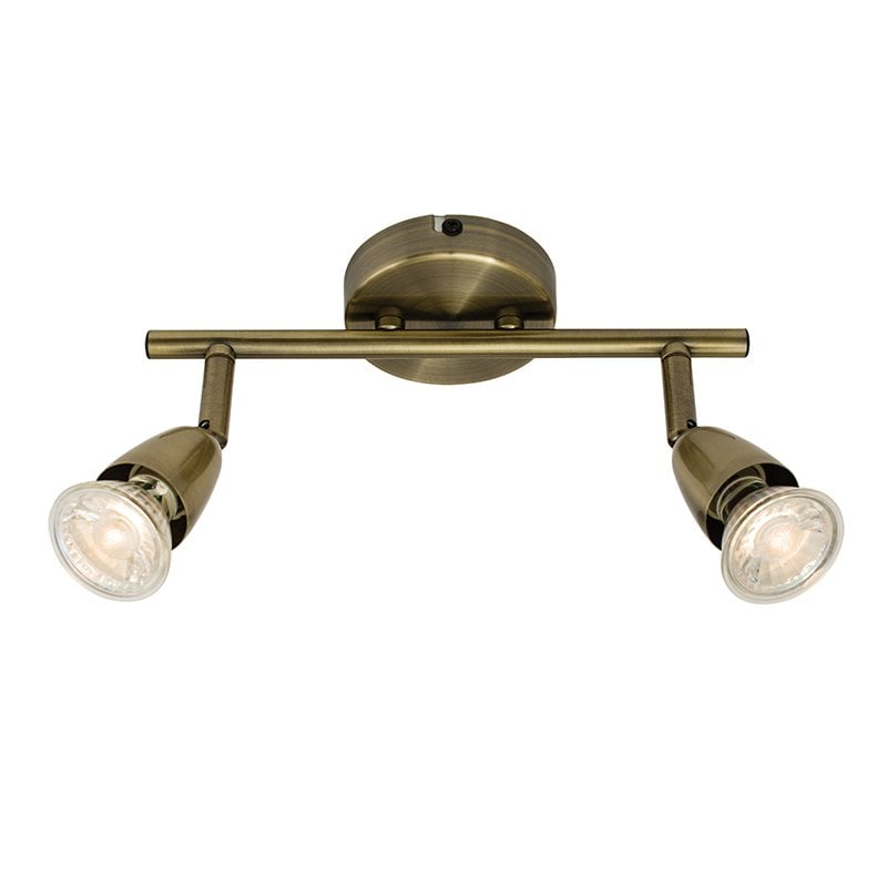 Endon 60999 Amalfi 2lt bar 50W, Antique brass effect plate