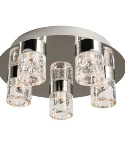 Endon 61358 Imperial 5lt flush IP44 4W, Chrome effect plate & clear glass with bubbles