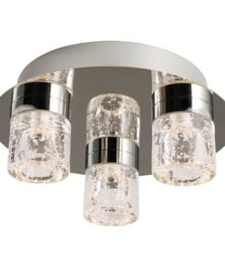 Endon 61359 Imperial 3lt flush IP44 4W, Chrome effect plate & clear glass with bubbles