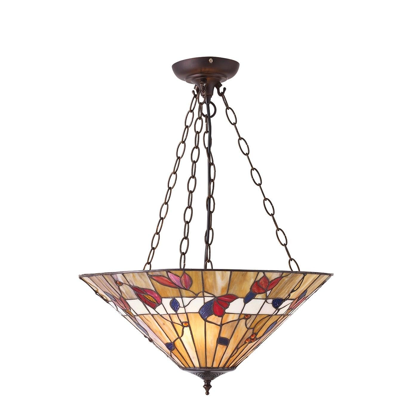 Interiors 1900 63949 Bernwood Large inverted 3lt pendant, Tiffany