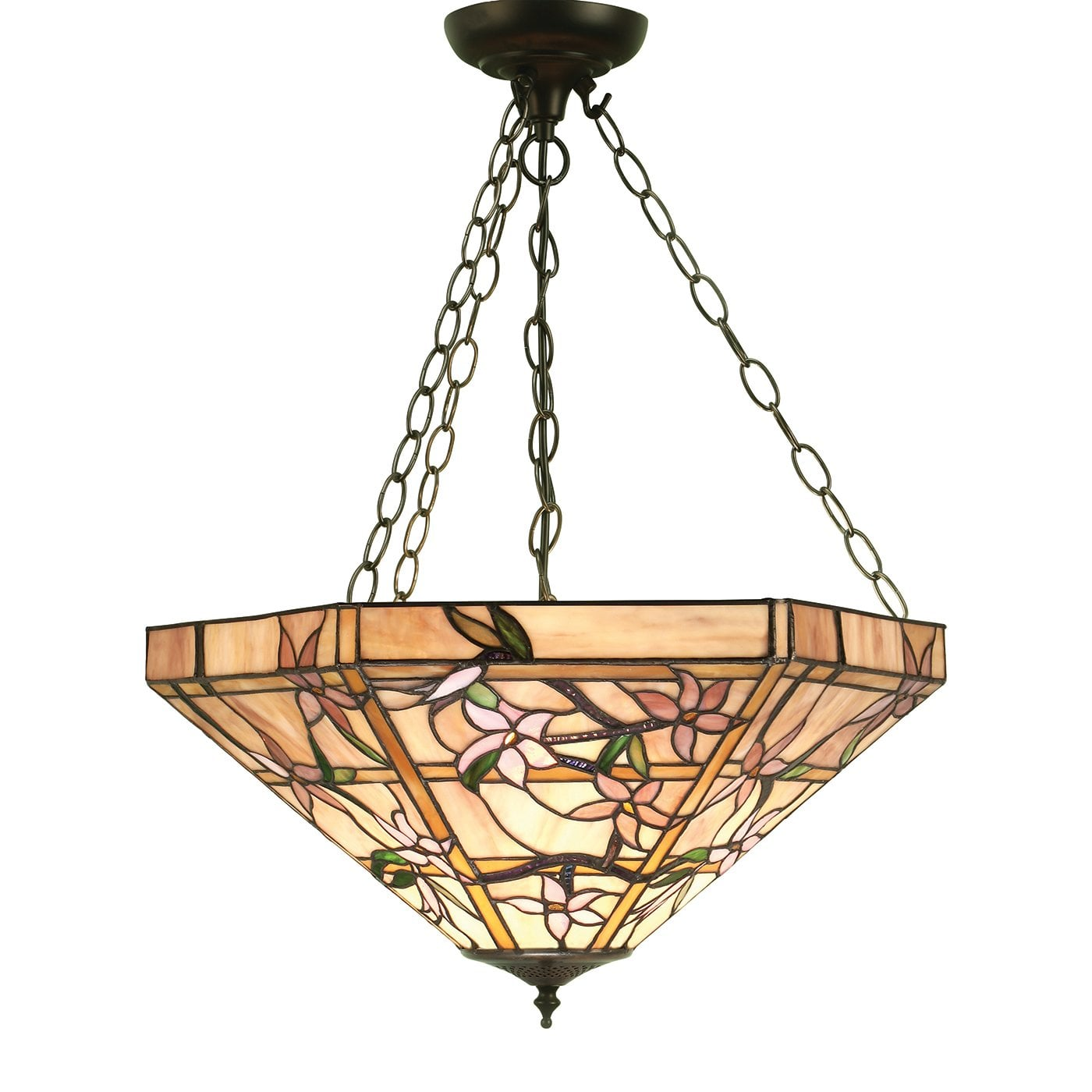 Interiors 1900 64019 Clematis Large inverted 3lt pendant, Tiffany