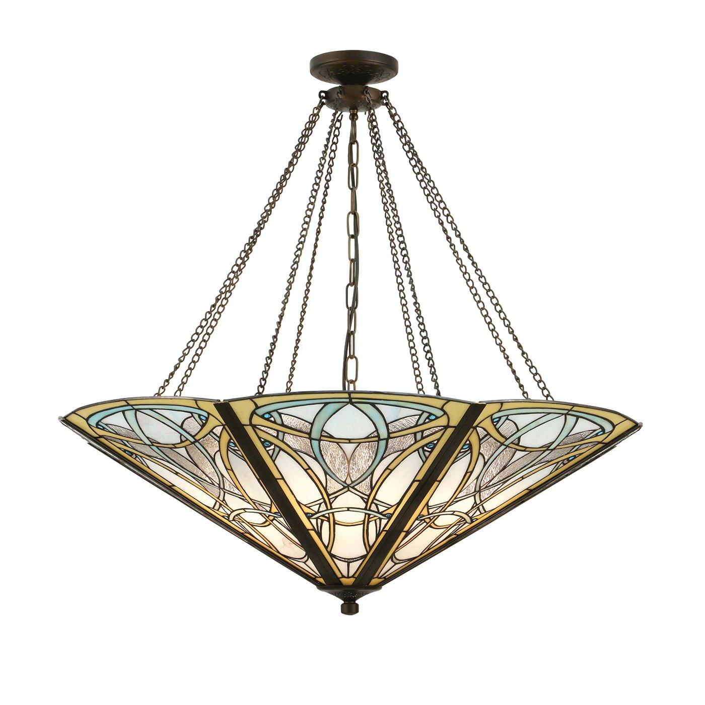 Interiors 1900 64053 Dauphine Mega panel inverted 8lt pendant, Tiffany