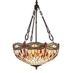 Interiors 1900 64073 Dragonfly beige Large inverted 3lt pendant, Tiffany
