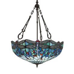 Interiors 1900 64074 Dragonfly blue Large inverted 3lt pendant, Tiffany