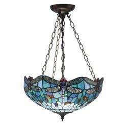 Interiors 1900 64075 Dragonfly blue Medium inverted 3lt pendant, Tiffany