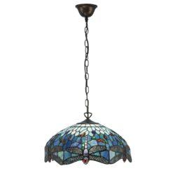 Interiors 1900 64080 Dragonfly blue Medium 3lt pendant, Tiffany
