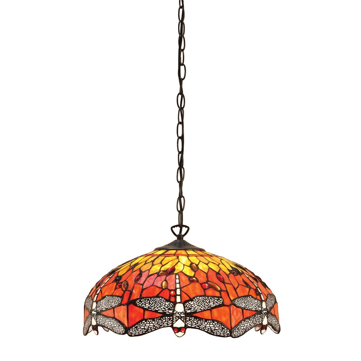 Interiors 1900 64081 Dragonfly flame Medium 3lt pendant, Tiffany