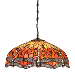 Interiors 1900 64082 Dragonfly flame Large 3lt pendant, Tiffany