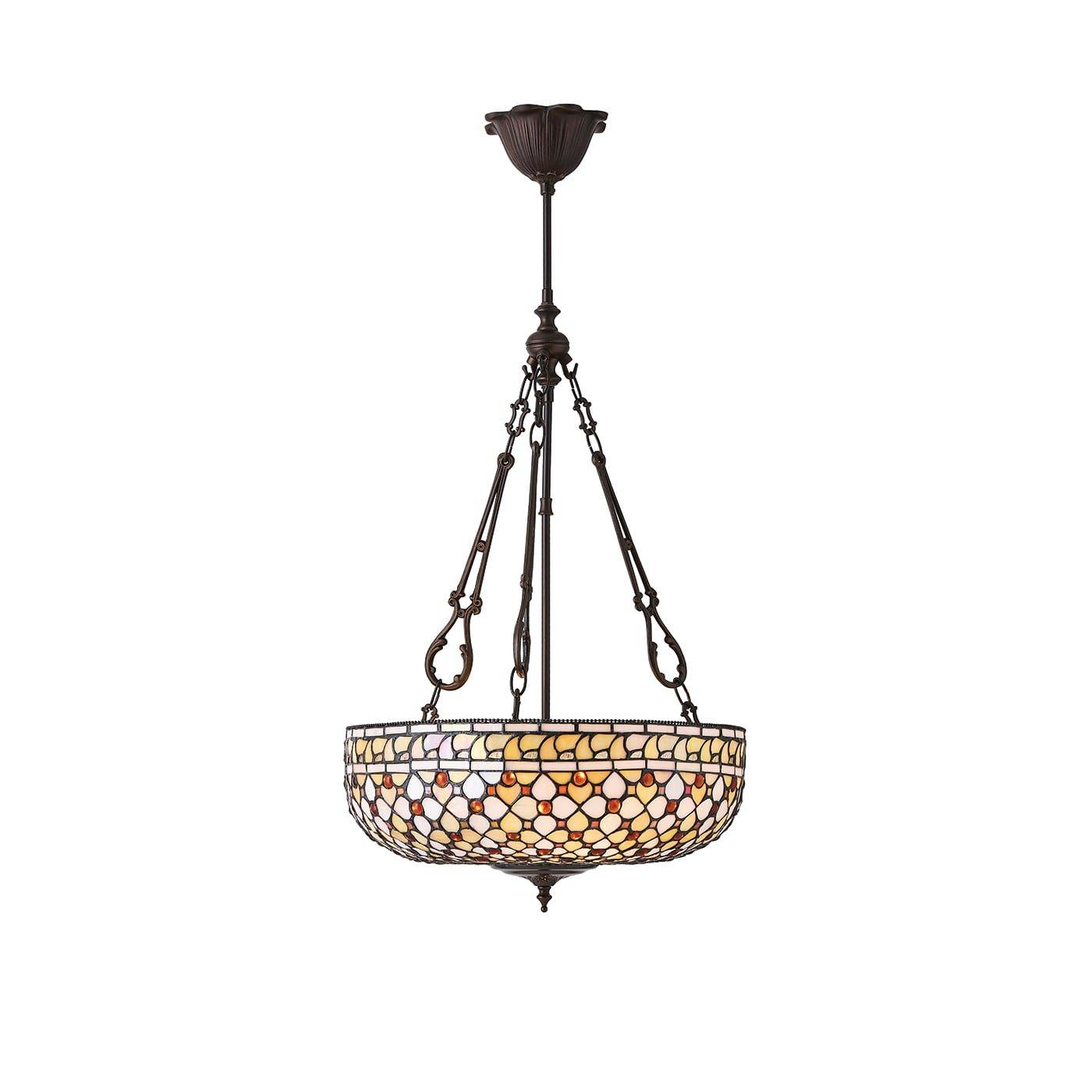 Interiors 1900 64277 Mille feux Large inverted 3lt pendant, Tiffany