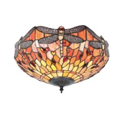 Interiors 1900 70721 Dragonfly flame Medium 2lt flush, Tiffany