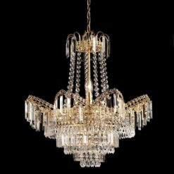 Endon 96819-GO Adagio 9lt pendant 40W, Clear faceted glass beads & gold effect plate