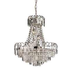 Endon 96826-CH Amadis 6lt pendant 40W, Clear faceted glass beads & chrome effect plate