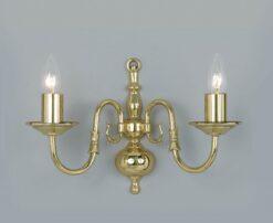 Impex BF00350/02/WB/PB Flemish 2 light Wall Light, Polished Brass