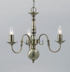 Impex BF00350/03/AB Flemish 3 light Pendant, Antique Brass