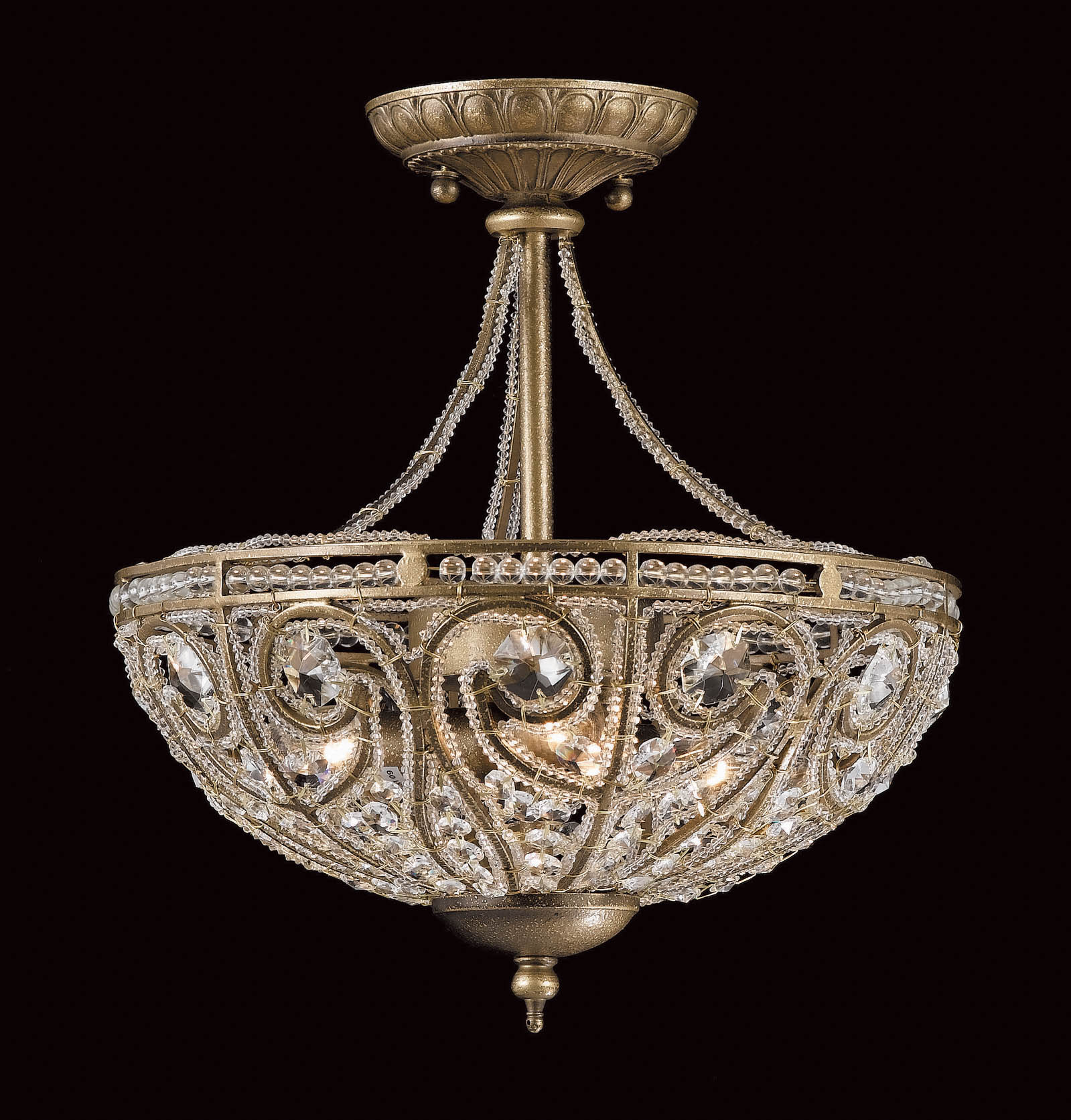 Impex CF98655/03/SF Elche 3 light Low Ceiling Fitting, Antique Brass