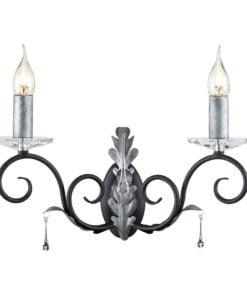 Elstead AML2BLK/SILVER Amarilli 2lt Wall Light Black/Silver