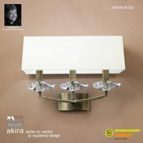 Mantra M0788AB/S- Akira AB 3lt Wall Light, Antique Brass