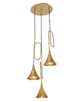 Mantra M6351- Jazz 3lt Multi Arm Pendant, Gold Painted