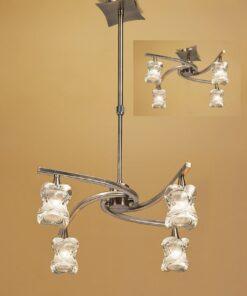 Mantra M0034AB- Rosa AB 4lt Multi Arm Pendant, Antique Brass