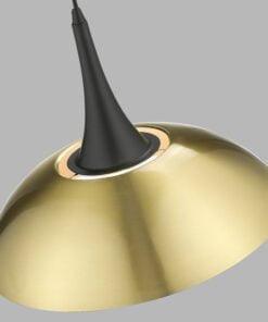 Seraphic Lighting R-1-DNEP2BA651MATS- Selly Oak 1lt Single Pendant, Antique Brass & innerfinished in matt white