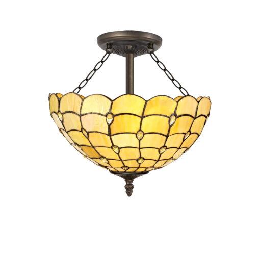 R-1-1611KHS Navi- 3 Light 40cm Semi Ceiling, Beige and Aged Antique Brass