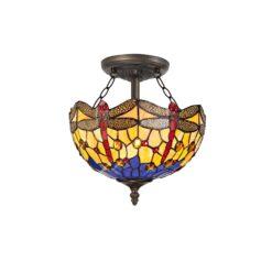 R-1-1811KHS Lorelei - 2 Light 30cm Semi Ceiling, Orange, Blue and Aged Antique Brass