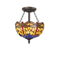 R-1-2811KHS Lorelei - 3 Light 30cm Semi Ceiling, Orange, Blue and Aged Antique Brass