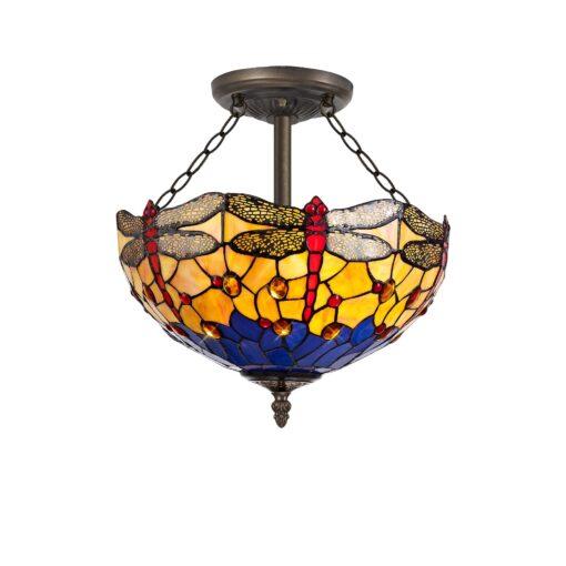 R-1-0811KHS Lorelei - 3 Light 40cm Semi Ceiling, Orange, Blue and Aged Antique Brass