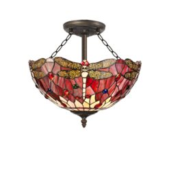R-1-3121KHS Lorelei - 3 Light 40cm Semi Ceiling, Purple, Pink and Aged Antique Brass