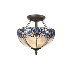 R-1-0521KHS Wisteria- 2 Light 30cm Tiffany Semi Ceiling, Blue and Aged Antique Brass