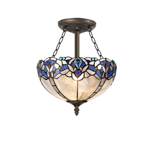 R-1-1621KHS Wisteria- 3 Light 30cm Tiffany Semi Ceiling, Blue and Aged Antique Brass