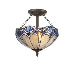 R-1-0621KHS Wisteria- 3 Light 40cm Tiffany Semi Ceiling, Blue and Aged Antique Brass