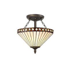 R-1-4331KHS Breena- 2 Light 30cm Tiffany Semi Ceiling, Amber, Cream and Aged Antique Brass