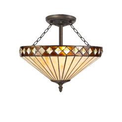 R-1-4431KHS Breena- 3 Light 40cm Tiffany Semi Ceiling, Amber, Cream and Aged Antique Brass