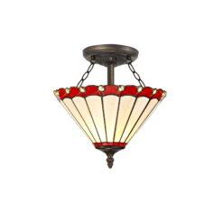 R-1-0931KHS Aubrey- 2 Light 30cm Tiffany Semi Ceiling, Red, Cream and Aged Antique Brass