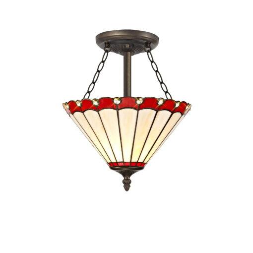 R-1-1031KHS Aubrey- 3 Light 30cm Tiffany Semi Ceiling, Red, Cream and Aged Antique Brass