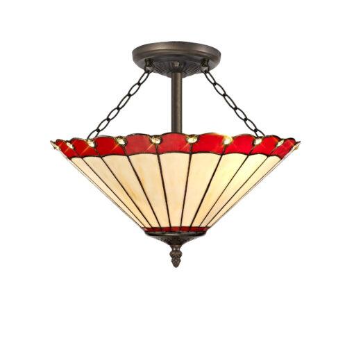 R-1-0031KHS Aubrey- 3 Light 40cm Tiffany Semi Ceiling, Red, Cream and Aged Antique Brass